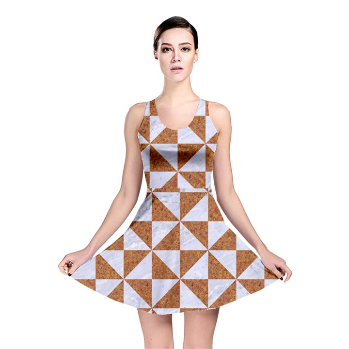 TRIANGLE1 WHITE MARBLE & RUSTED METAL Reversible Skater Dress