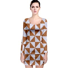 Triangle1 White Marble & Rusted Metal Long Sleeve Bodycon Dress