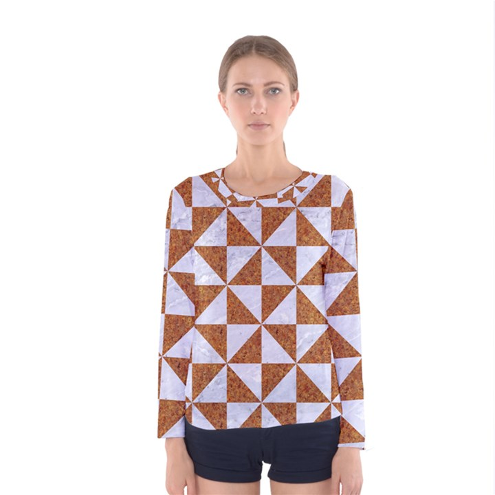 TRIANGLE1 WHITE MARBLE & RUSTED METAL Women s Long Sleeve Tee