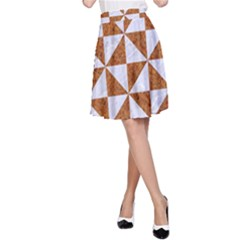 Triangle1 White Marble & Rusted Metal A Line Skirt