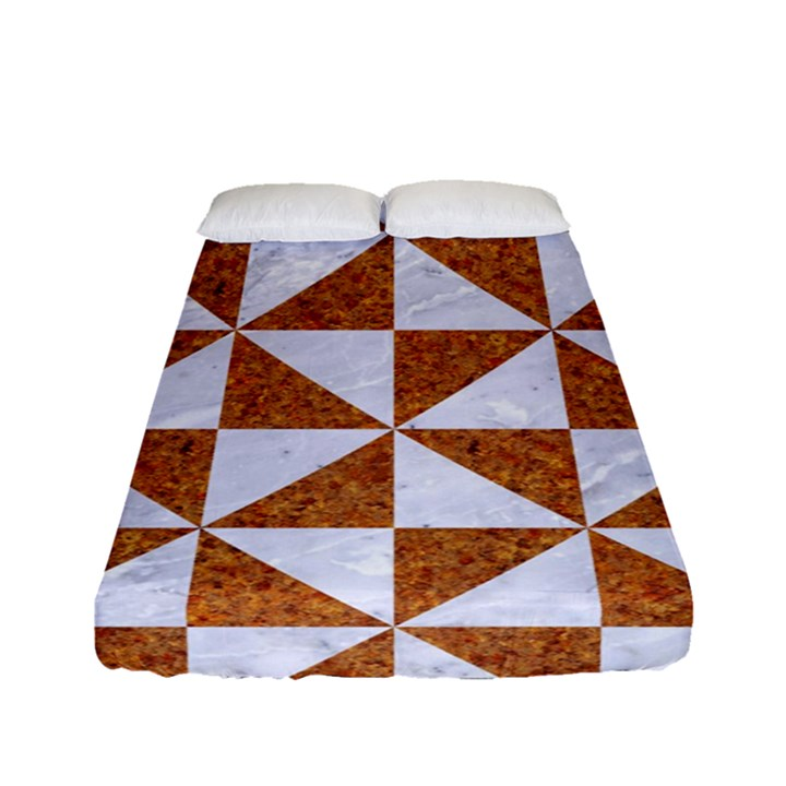 TRIANGLE1 WHITE MARBLE & RUSTED METAL Fitted Sheet (Full/ Double Size)