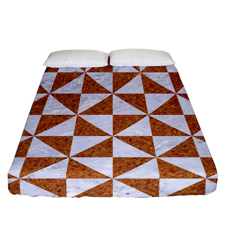 TRIANGLE1 WHITE MARBLE & RUSTED METAL Fitted Sheet (California King Size)