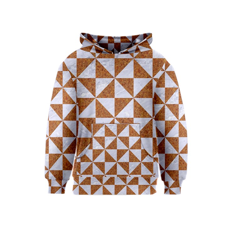TRIANGLE1 WHITE MARBLE & RUSTED METAL Kids  Pullover Hoodie