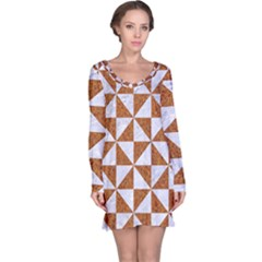 Triangle1 White Marble & Rusted Metal Long Sleeve Nightdress