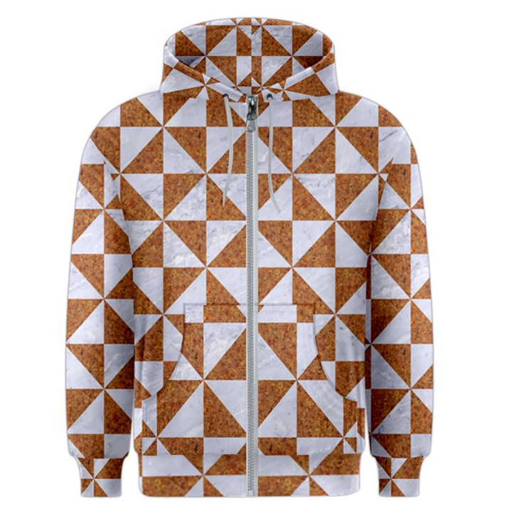 TRIANGLE1 WHITE MARBLE & RUSTED METAL Men s Zipper Hoodie