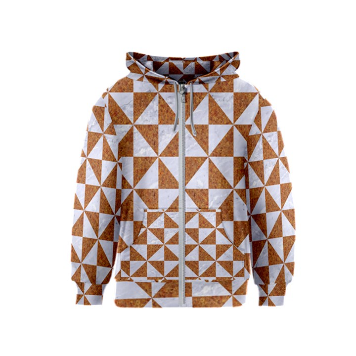 TRIANGLE1 WHITE MARBLE & RUSTED METAL Kids  Zipper Hoodie