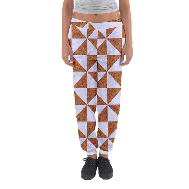TRIANGLE1 WHITE MARBLE & RUSTED METAL Women s Jogger Sweatpants