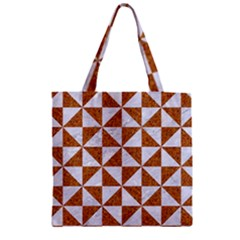 Triangle1 White Marble & Rusted Metal Zipper Grocery Tote Bag