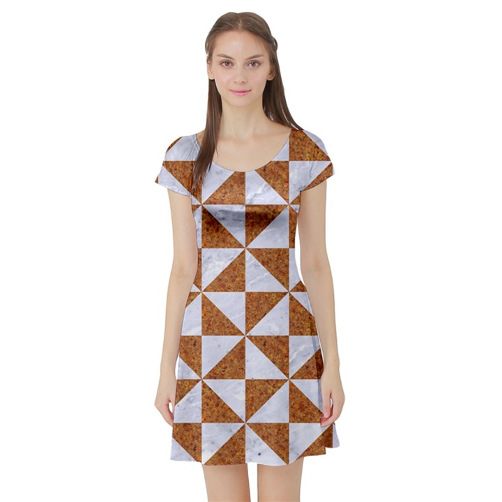 TRIANGLE1 WHITE MARBLE & RUSTED METAL Short Sleeve Skater Dress