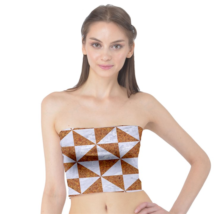 TRIANGLE1 WHITE MARBLE & RUSTED METAL Tube Top