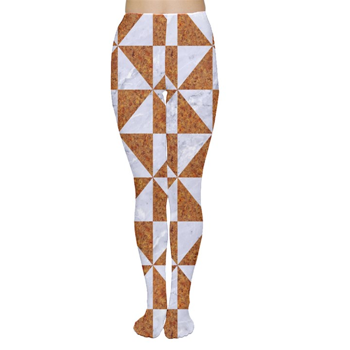 TRIANGLE1 WHITE MARBLE & RUSTED METAL Women s Tights