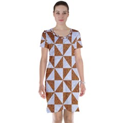 Triangle1 White Marble & Rusted Metal Short Sleeve Nightdress