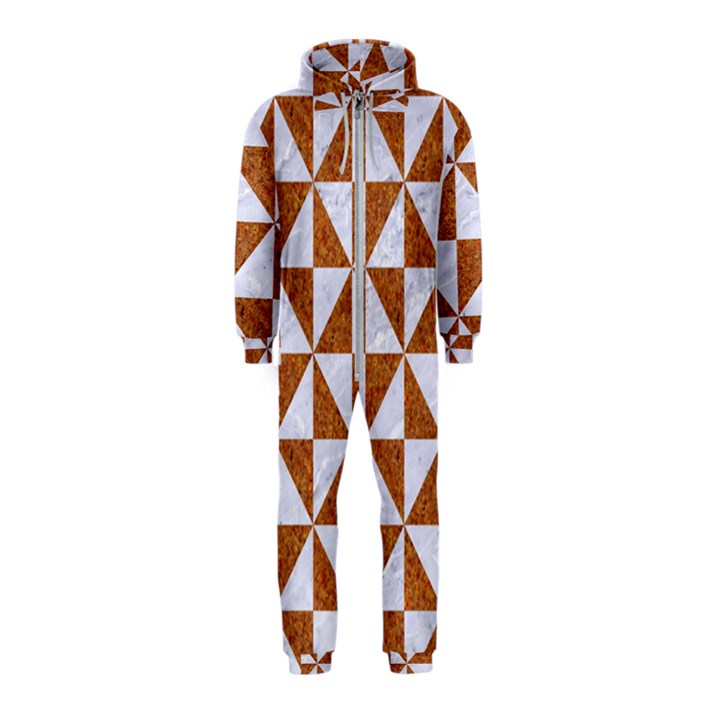 TRIANGLE1 WHITE MARBLE & RUSTED METAL Hooded Jumpsuit (Kids)