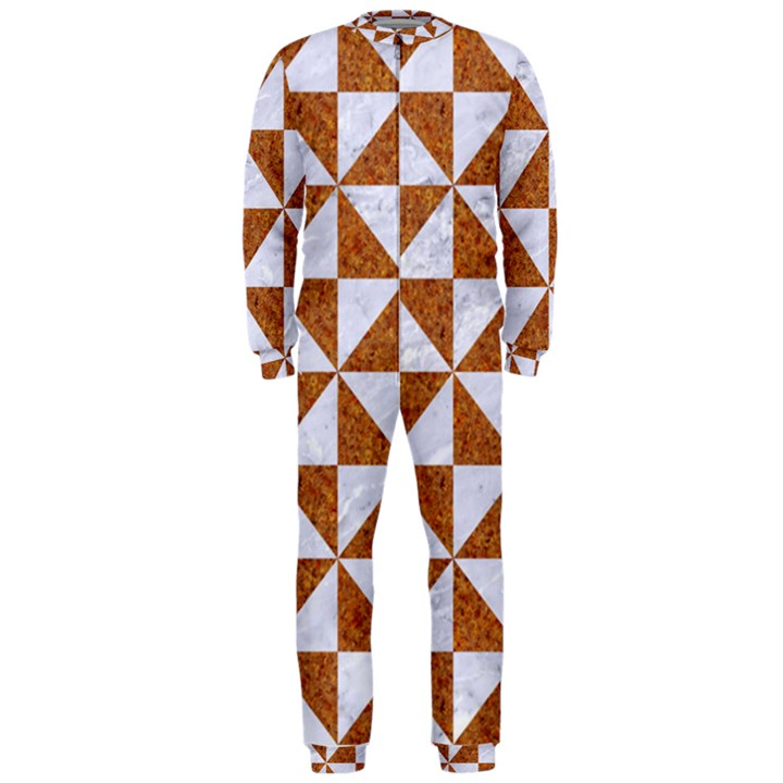 TRIANGLE1 WHITE MARBLE & RUSTED METAL OnePiece Jumpsuit (Men)