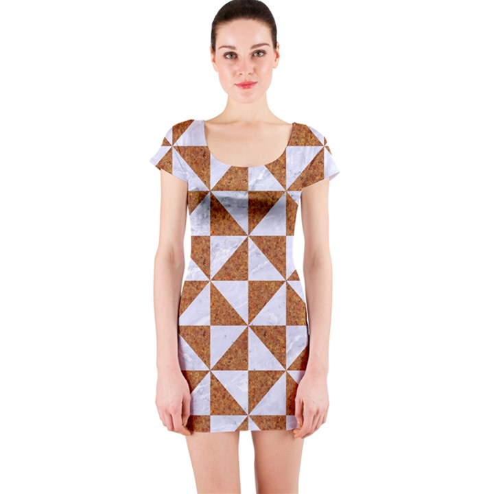 TRIANGLE1 WHITE MARBLE & RUSTED METAL Short Sleeve Bodycon Dress