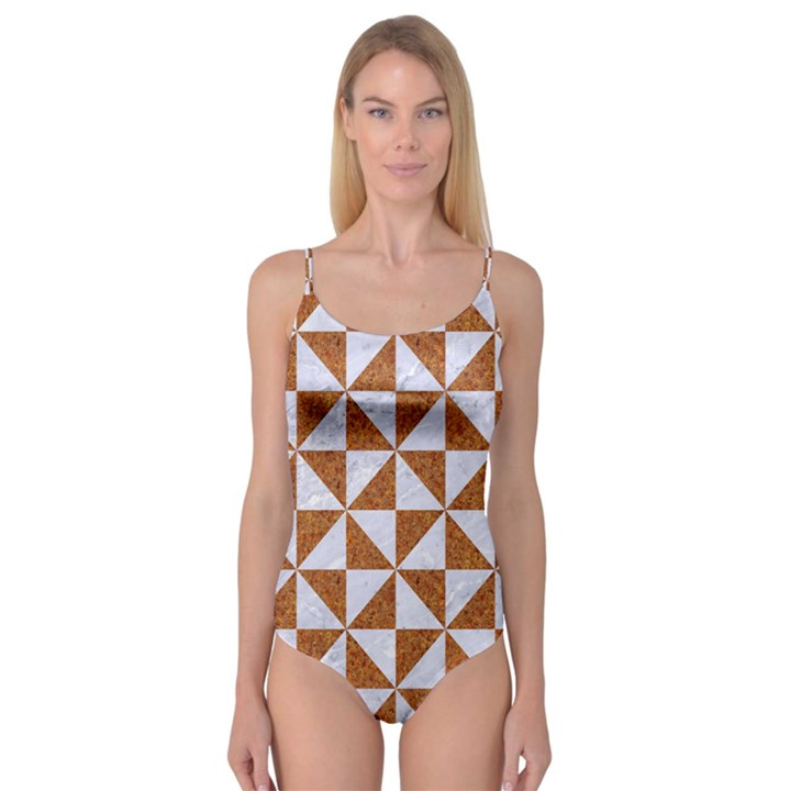 TRIANGLE1 WHITE MARBLE & RUSTED METAL Camisole Leotard