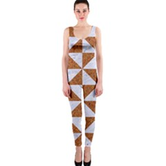 Triangle1 White Marble & Rusted Metal One Piece Catsuit