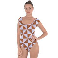 Triangle1 White Marble & Rusted Metal Short Sleeve Leotard