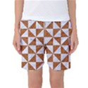 TRIANGLE1 WHITE MARBLE & RUSTED METAL Women s Basketball Shorts View1