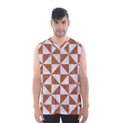 Triangle1 White Marble & Rusted Metal Men s Basketball Tank Top