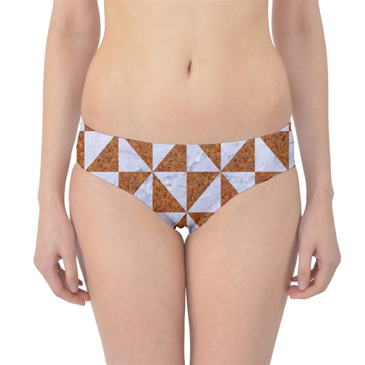 TRIANGLE1 WHITE MARBLE & RUSTED METAL Hipster Bikini Bottoms
