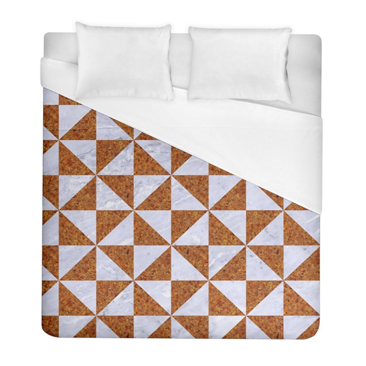 TRIANGLE1 WHITE MARBLE & RUSTED METAL Duvet Cover (Full/ Double Size)