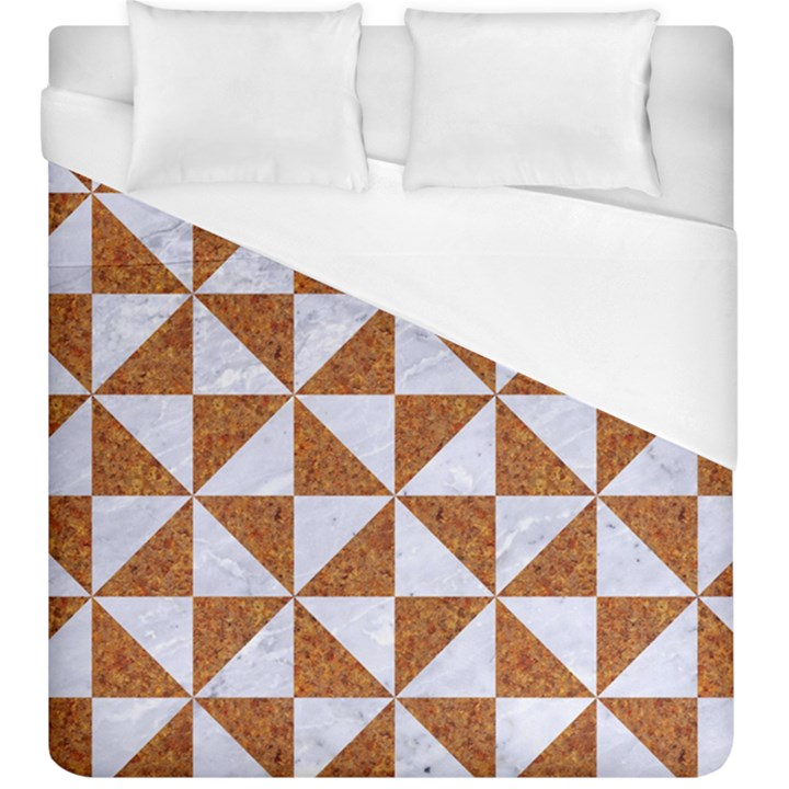 TRIANGLE1 WHITE MARBLE & RUSTED METAL Duvet Cover (King Size)