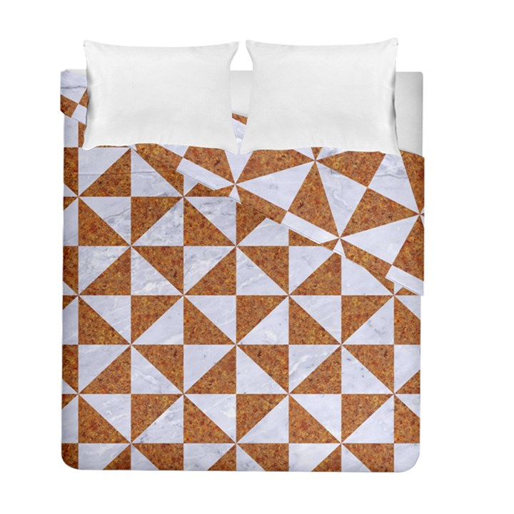 TRIANGLE1 WHITE MARBLE & RUSTED METAL Duvet Cover Double Side (Full/ Double Size)