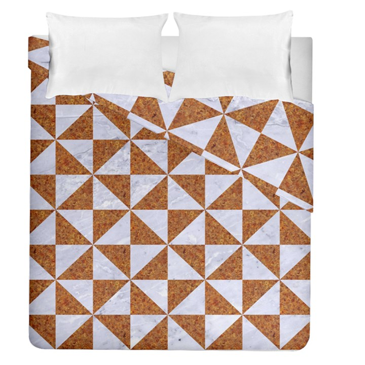 TRIANGLE1 WHITE MARBLE & RUSTED METAL Duvet Cover Double Side (Queen Size)