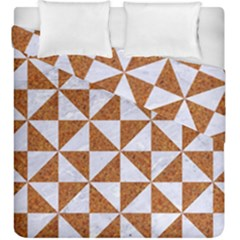 Triangle1 White Marble & Rusted Metal Duvet Cover Double Side (king Size)