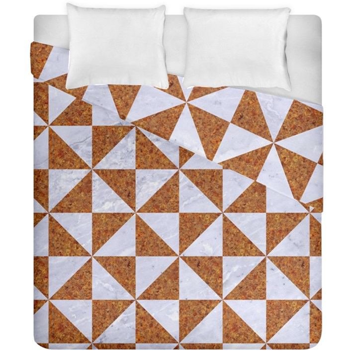 TRIANGLE1 WHITE MARBLE & RUSTED METAL Duvet Cover Double Side (California King Size)