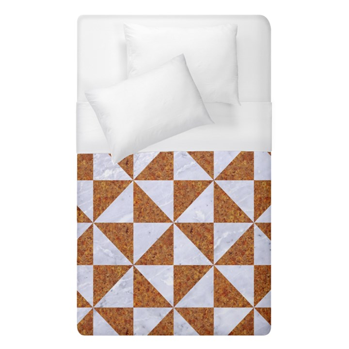 TRIANGLE1 WHITE MARBLE & RUSTED METAL Duvet Cover (Single Size)