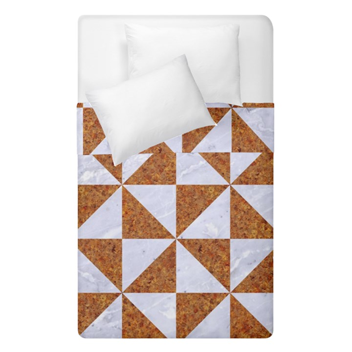 TRIANGLE1 WHITE MARBLE & RUSTED METAL Duvet Cover Double Side (Single Size)