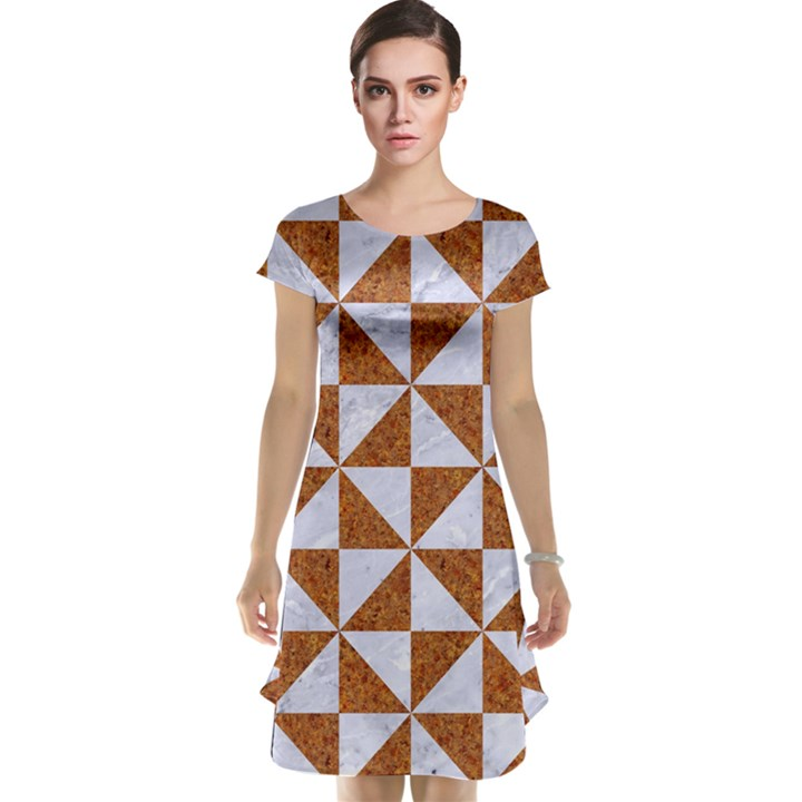 TRIANGLE1 WHITE MARBLE & RUSTED METAL Cap Sleeve Nightdress