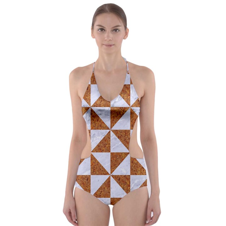 TRIANGLE1 WHITE MARBLE & RUSTED METAL Cut-Out One Piece Swimsuit