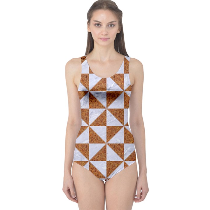 TRIANGLE1 WHITE MARBLE & RUSTED METAL One Piece Swimsuit