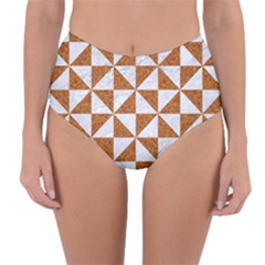 Triangle1 White Marble & Rusted Metal Reversible High Waist Bikini Bottoms