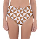 TRIANGLE1 WHITE MARBLE & RUSTED METAL Reversible High-Waist Bikini Bottoms View1
