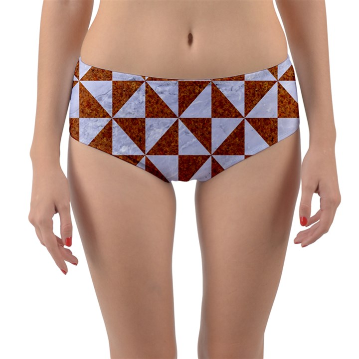 TRIANGLE1 WHITE MARBLE & RUSTED METAL Reversible Mid-Waist Bikini Bottoms