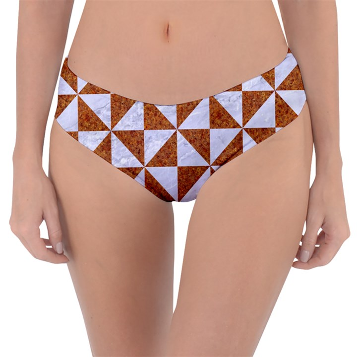 TRIANGLE1 WHITE MARBLE & RUSTED METAL Reversible Classic Bikini Bottoms