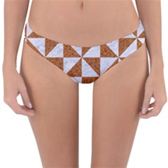 Triangle1 White Marble & Rusted Metal Reversible Hipster Bikini Bottoms