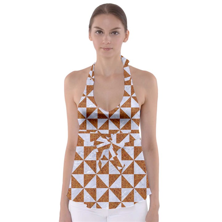 TRIANGLE1 WHITE MARBLE & RUSTED METAL Babydoll Tankini Top