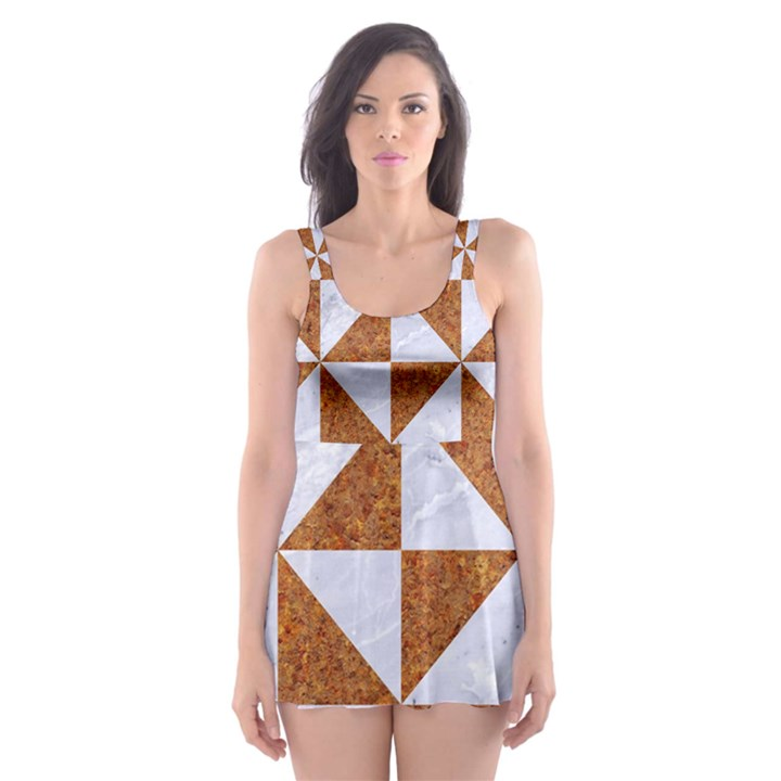 TRIANGLE1 WHITE MARBLE & RUSTED METAL Skater Dress Swimsuit