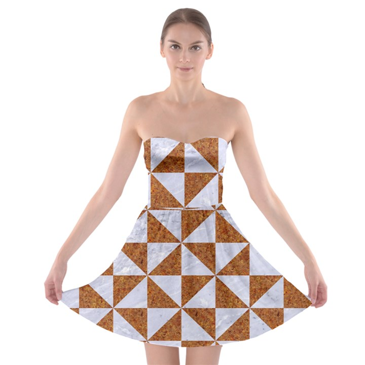 TRIANGLE1 WHITE MARBLE & RUSTED METAL Strapless Bra Top Dress