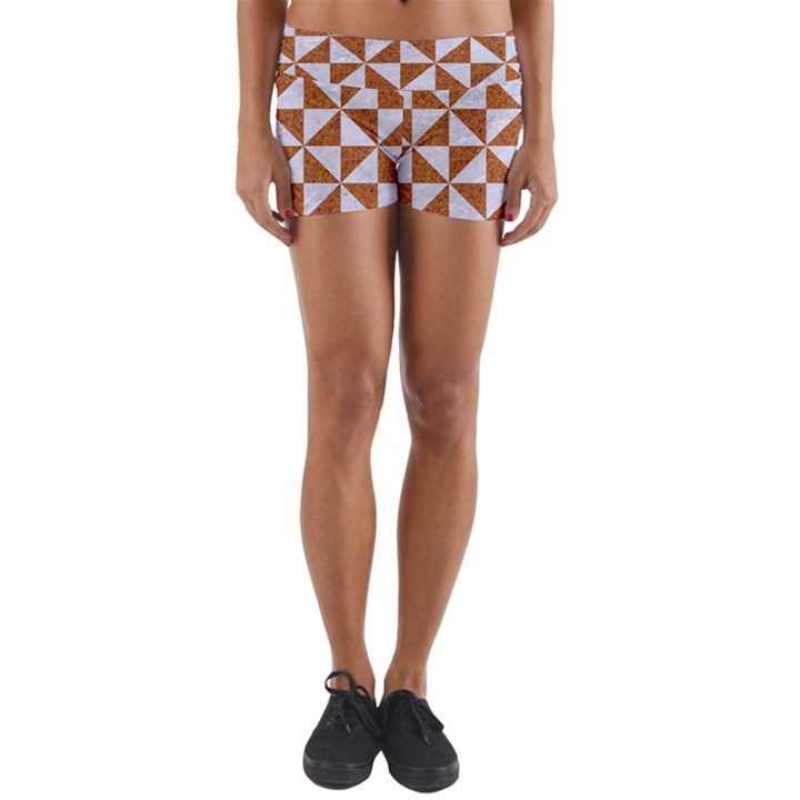 TRIANGLE1 WHITE MARBLE & RUSTED METAL Yoga Shorts