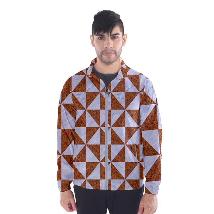 TRIANGLE1 WHITE MARBLE & RUSTED METAL Wind Breaker (Men)