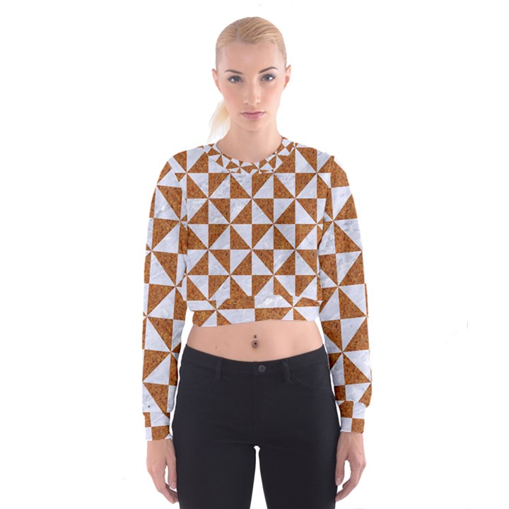 TRIANGLE1 WHITE MARBLE & RUSTED METAL Cropped Sweatshirt
