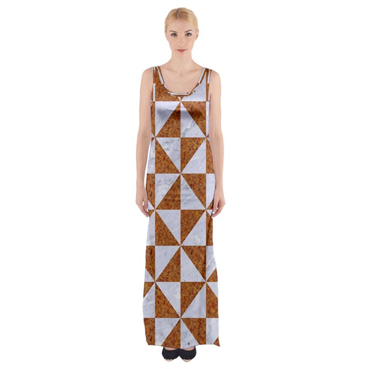 TRIANGLE1 WHITE MARBLE & RUSTED METAL Maxi Thigh Split Dress