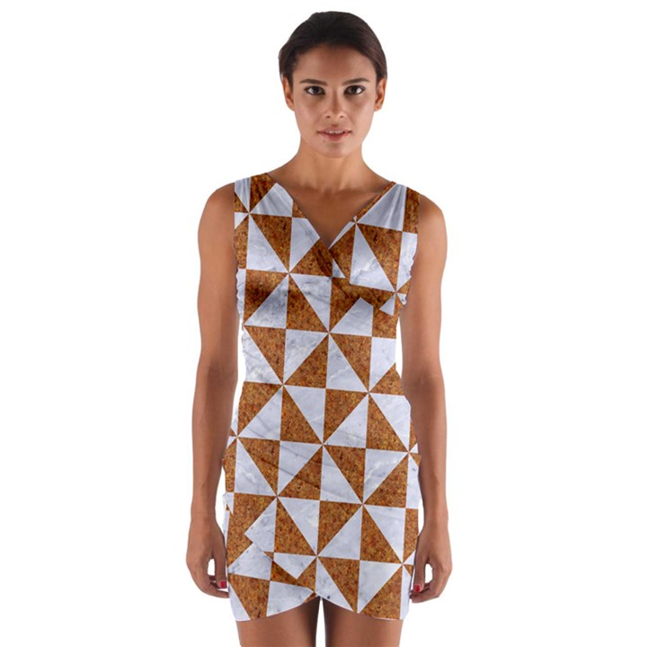 TRIANGLE1 WHITE MARBLE & RUSTED METAL Wrap Front Bodycon Dress