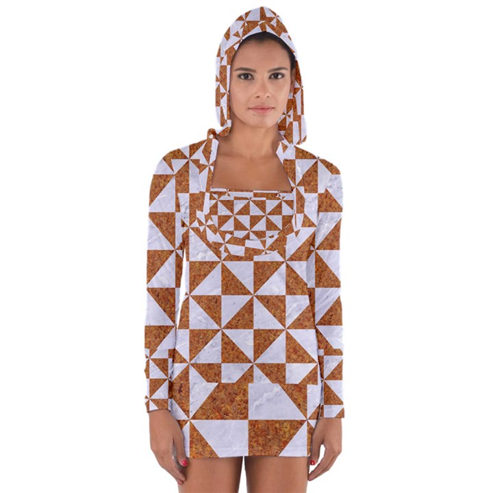 TRIANGLE1 WHITE MARBLE & RUSTED METAL Long Sleeve Hooded T-shirt